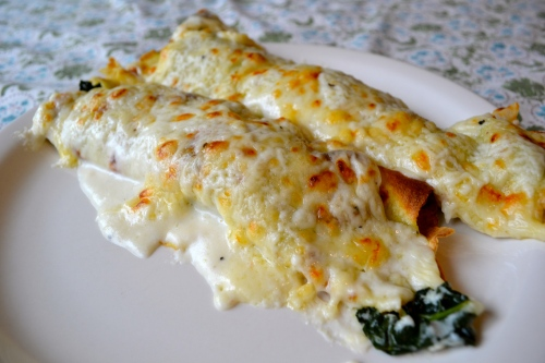 kale, rosemary and gruyere crepes