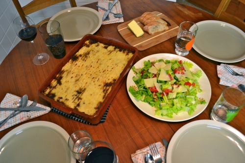 Shepherd's pie and a simple salad. Family style.