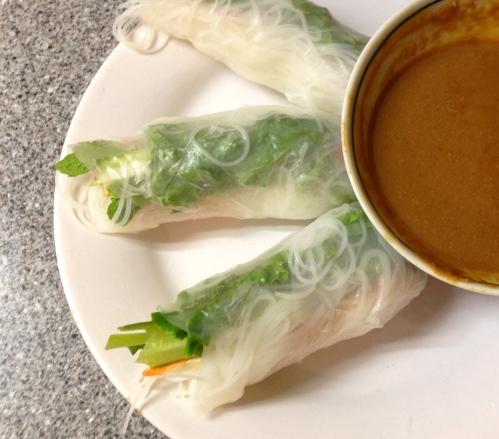 Veggie spring rolls and peanut sauce | lushesfood