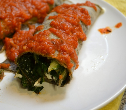 buckwheat crepes with green chard