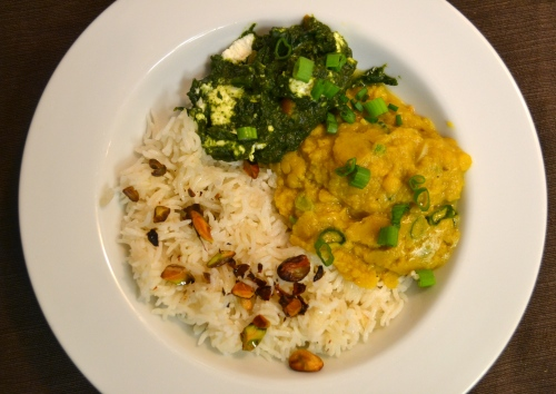 rice, dhal and saag paneer