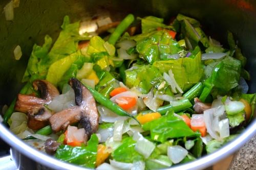Chopped vegetables for ramen
