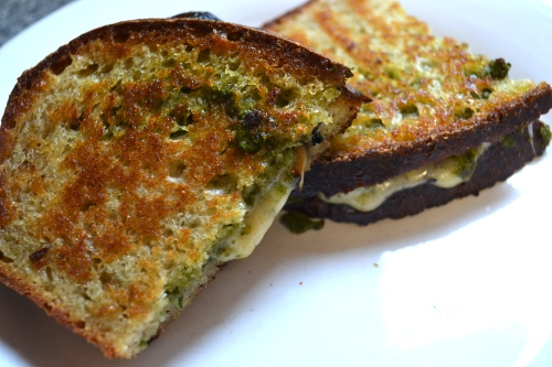 sourdough grilled cheese with manchego and pesto