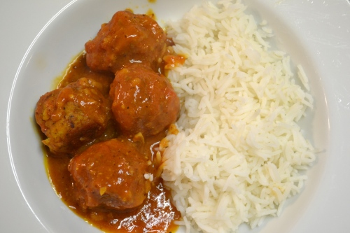 lentil kofta and madras curry