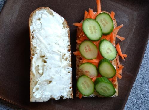 pickled carrots, cucumber, sriracha