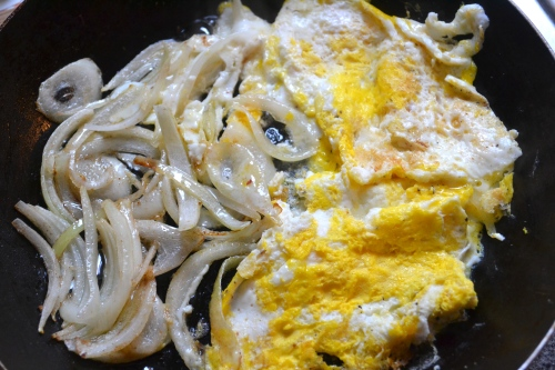 fried egg and onion sandwich