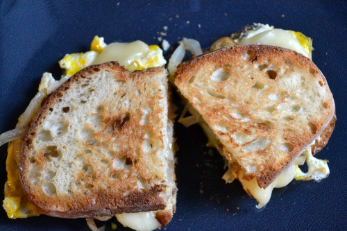 ried egg and onion sandwich