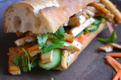 Vegetarian banh mi sandwich