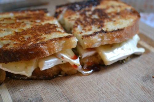 brie and caramelized onion sandwich