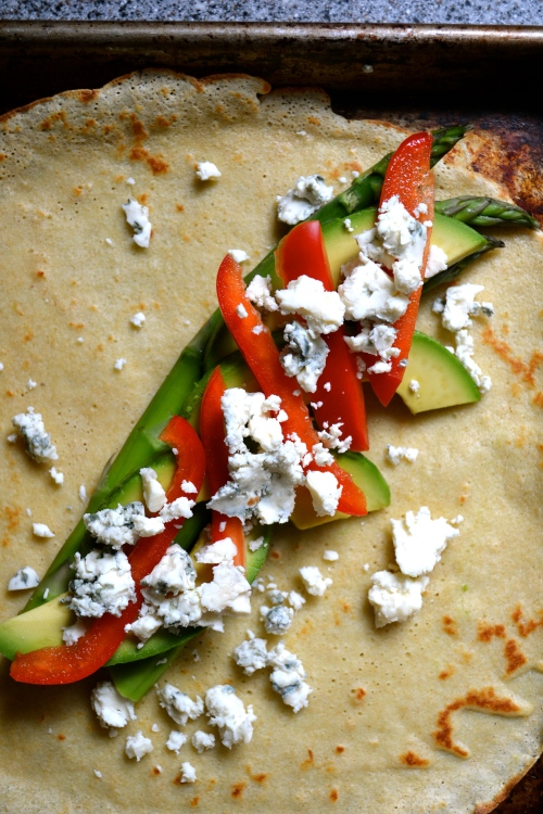 avocado, asparagus and red pepper