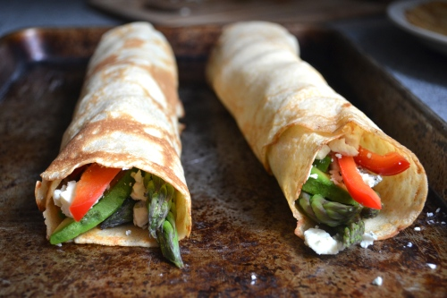 veggie and gorgonzola stuffed crepes