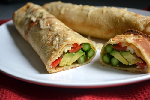 asparagus and gorgonzola crepes