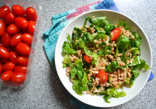 farro salad and grape tomatoes