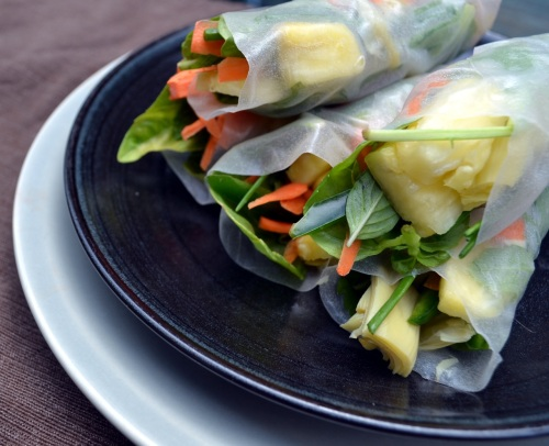 pineapple jalapeno spring rolls