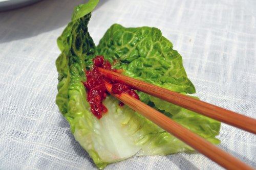 lettuce with ssamjang