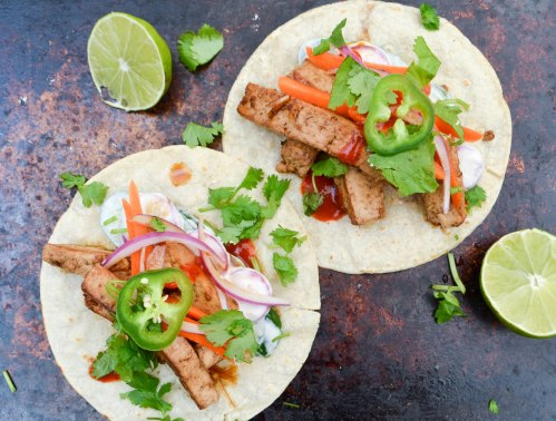 banh mi tacos from above